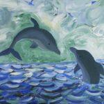 Redland Yurara Art Society - 'Dolphin Play' - Jodi Van Der Pligt - Acrylic - Painting - Art Exhibition - Major Spring Art Exhibition
