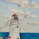 Redland Yurara Art Society - 'Double Island Point Lighthouse' -Kathryn Christensen - Watercolour & Ink - Painting - Art Exhibition - Major Spring Art Exhibition