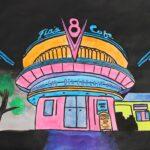 redland yurara art society - yurara youth art awards - YYAA 2020 - art exhibition - art competition - 'Flo's V8 Cafe' -Savannah Masters -Cleveland District State High School - UV and Acrylic paint