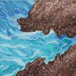 redland yurara art society - yurara youth art awards - YYAA 2020 - art exhibition - art competition - 'Rocky Waves' - Leah August - Cleveland District State High School - Acrylic