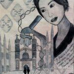 redland yurara art society - yurara youth art awards - YYAA 2020 - art competition - art exhibition - drawing - 'Rosalind Franklin' - Imogen Hatherill - Ormiston College -Acrylic - Charcoal - Ink