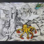 redland yurara art society - yurara youth art awards - YYAA 2020 - art exhibition - art competition - 'Saturday Afternoon' - Chanade West - Victoria Point State High School - Graphite - Charcoal - Chalk - Pastel