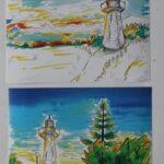 redland yurara art society - yurara youth art awards - YYAA 2020 - art exhibition - art competition - 'The Ocean Light' - Freya Andrews - Cleveland District State High School - Watercolour - Ink
