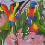 Redland Yurara Art Society -'Three Lorikeets' - Christine Pugh - Oil - Painting - Art Exhibition - Major Spring Art Exhibition