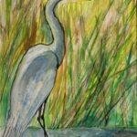 Redland Yurara Art Society - 'Egret' - Tarja Rantala - Watercolour and Ink - Painting - Art Exhibition - Watercolours