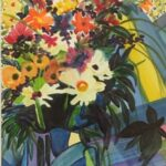 Redland Yurara Art Society - Major Autumn Art Exhibition - 'Art Deco Sun with Flowers' - Nikki Taylor - painting - Watercolour - Highly Commended