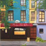 Redland Yurara Art Society- Major Autumn Exhibition - 'Capella Cafe' - Angela Bruce - Acrylic - streetscape - painting