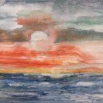 Redland Yurara Art Society - 'Sunset Over the Sea' - Rosie Sheehan - Acrylic - Painting - Art Exhibition - Major Autumn Exhibition