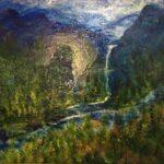 Redland Yurara Art Society - 'Twin Falls NZ' - Col Owens - Acrylic - Painting - Art Exhibition - Major Autumn Exhibition