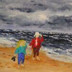 Redland Yurara Art Society - 'Blown Away' - Jaqui Selke-Pike - Acrylic - Painting - Art Exhibition - People at the Beach