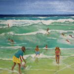 Redland Yurara Art Society - 'Busy at the Beach' - Danielle Bain - Acrylic - Painting - Art Exhibition - People at the Beach