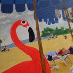 Redland Yurara Art Society - 'Flamingo Watching' - Angela Bruce - Acrylic - Painting - Art Exhibition - People at the Beach