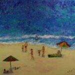 Redland Yurara Art Society - 'Lazy Days of Summer' - Tarja Rantala - Acrylic - Painting - Art Exhibition - People at the Beach