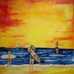 Redland Yurara Art Society - 'Morning Surf' - Tarja Rantala - Acrylic - Painting - Art Exhibition - People at the Beach