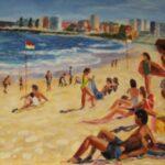 Redland Yurara Art Society - 'Summer at Wanda Beach' - Sylvia Heterick - Oil - Painting - Art Exhibition - People at the Beach