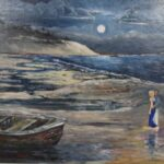 Redland Yurara Art Society - 'The Lady in Red' - John Holmes - Acrylic - Painting - Art Exhibition - People at the Beach