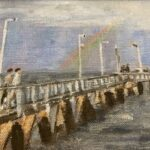 Redland Yurara Art Society - 'Wellington Point Jetty after the Storm' - Val Turner - Acrylic - Painting - Art Exhibition - People at the Beach