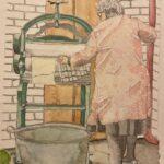 Redland Yurara Art Society - 'At the Mangle' - Evelyn Kerlin - Watercolour - Painting - Art Exhibition - Vintage
