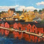 Redland Yurara Art Society - 'Boat Sheds' - Arja Tosavainen - Acrylic - Painting - Art Exhibition - Vintage