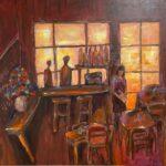 Redland Yurara Art Society - 'Coffee Shop' - Elmarie Van Der Walt - Acrylic - Painting - Art Exhibition - Vintage