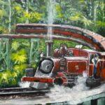 Redland Yurara Art Society - 'Puffing Billy, Belgrave' - John Holmes - Acrylic - Painting - Art Exhibition - Vintage