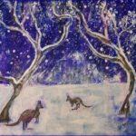 Redland Yurara Art Society - 'Kangaroos and Snowy Mountains' - Tarja Rantala - Acrylic - Painting - Art Exhibition - Weather