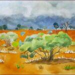 Redland Yurara Art Society - 'Storm in the Gidgee' - Danielle Bain - Watercolour - Painting - Art Exhibition - Weather