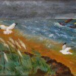 Redland Yurara art Society - 'Stormy Beach' - Raija Jantti - Acrylic - Painting - Art Exhibition - Weather