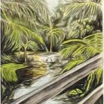 Redland Yurara Art Society - 'Footbridge at Lagoon' - Peter Veal - Watercolour - Painting - Major Spring Art Exhibition - Landscapes