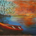 Redland Yurara Art Society - 'Sunrise Over Lake' - Raija Jantti - Acrylic - Painting - Major Spring Art Exhibition - Landscapes