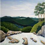 Redland Yurara Art Society - 'Twin Falls, Springbrook' - Evelyn Kerlin - Acrylic - Painting - Major Spring Art Exhibition - Landscapes