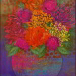 Redland Yurara Art Society - 'Bowl of Chrysanthemums' - Amanda Slater - Mixed Media - Painting - Art Exhibition - Florals