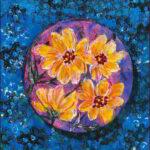 Redland Yurara Art Society - 'Round Floral Canvas' - Raija Jantti - Acrylic - Painting - Art Exhibition - Florals